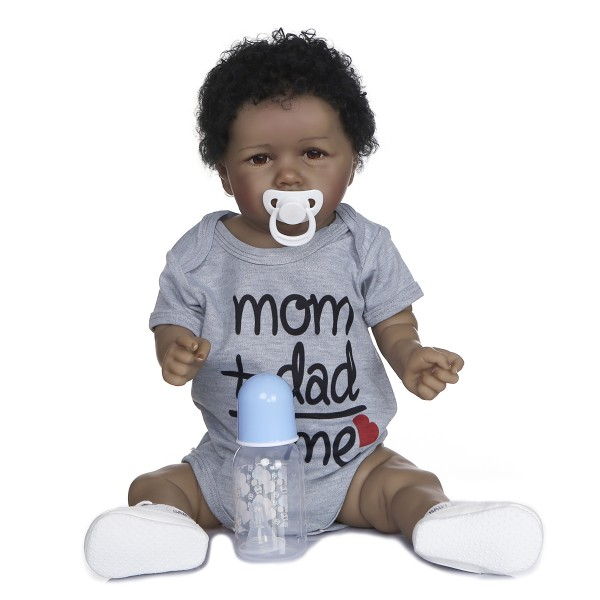 Look Realistic African American Reborn Baby Handmade Soft Full Body Silicone Doll 22Inche