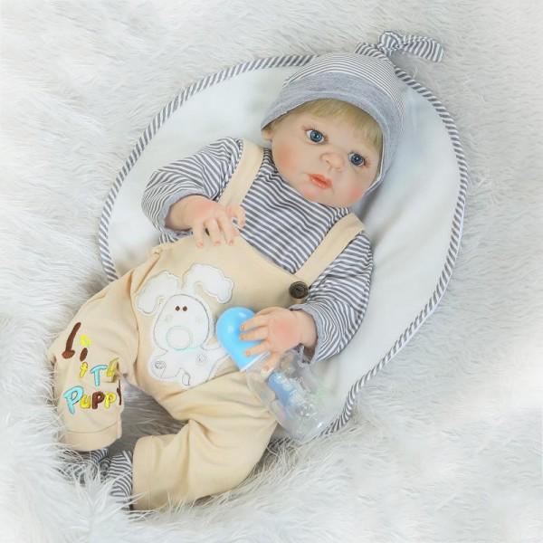 Lifelike Reborn Boy Doll Blue Eyes Realistic Silicone Baby Boy Doll 22.5inch