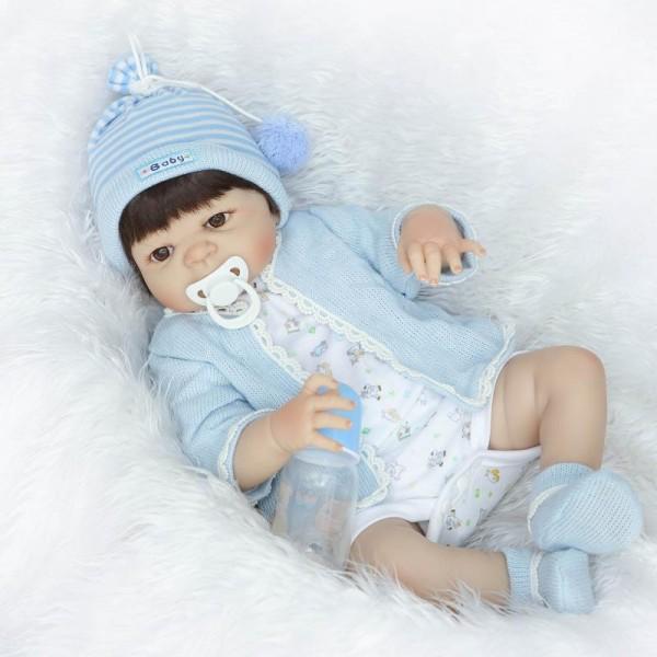 Silicone Reborn Boy Doll Lifelike Realistic Baby Boy Doll 22.5inch