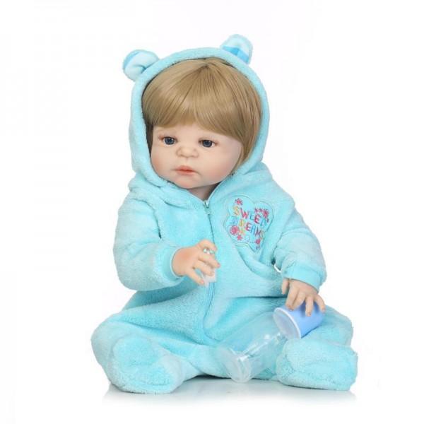 Reborn Boy Doll In Blue Romper Lifelike Realistic Silicone Vinyl Baby Doll 22.5inch