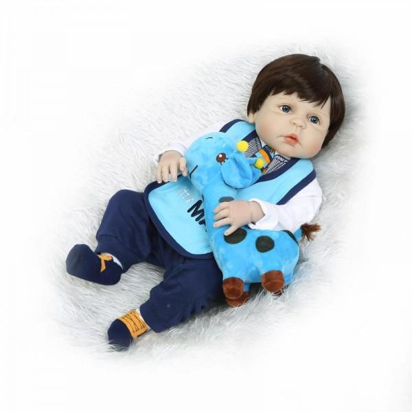 Reborn Boy Doll Lifelike Realistic Silicone Vinyl Baby Boy Doll 22.5inch With Toy