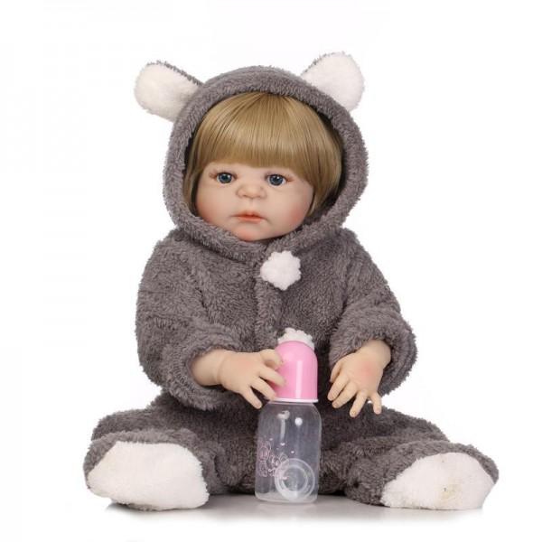 Poseable Reborn Boy Doll Realistic Newborn Lifelike Silicone Baby Doll 22.5inch