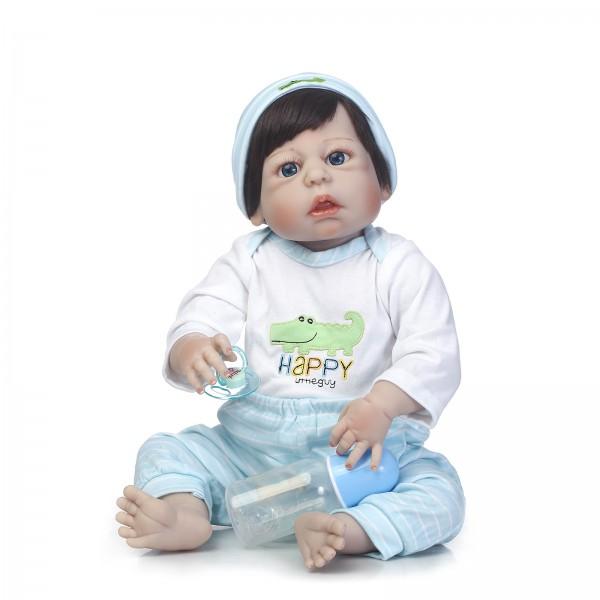 Poseable Reborn Boy Doll Lifelike Realistic Silicone Vinyl Baby Doll 22.5inch