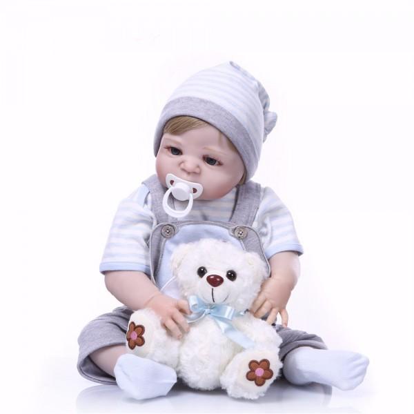 Cute Full Body Silicone Boy Reborn Babies 22inche