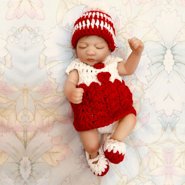 Cute Sleeping Baby Doll Lifelike Silicone Reborn Girl Preemie Doll 10inch