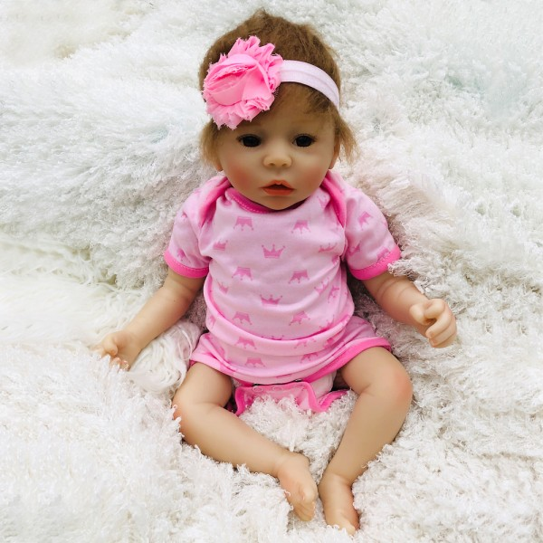 Poseable Silicone Reborn Baby Doll Lifelike Realistic Girl Doll 18inch