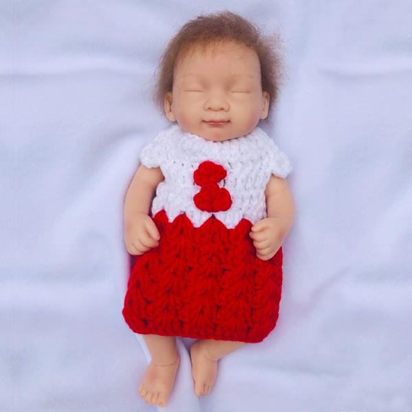 Sleeping Reborn Baby Doll Lifelike Silicone Vinyl Preemie Girl Doll 10inch