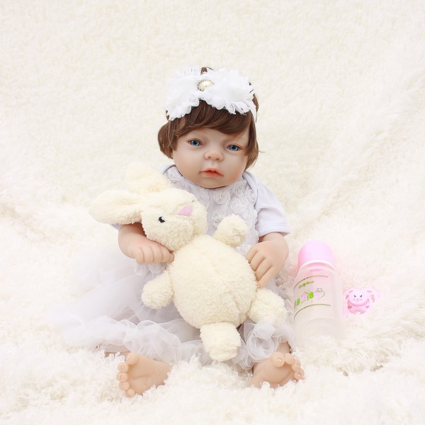 Silicone Reborn Girl Doll In White Bubble Dress Lifelike Realistic Baby Doll 20inch