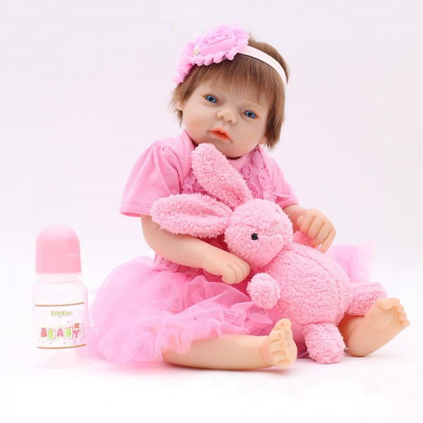 Silicone Reborn Girl Doll In Pink Bubble Dress Lifelike Baby Doll 20inch