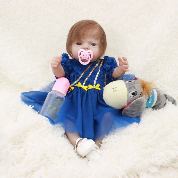 Silicone Reborn Girl Doll In Blue Dress Lifelike Realistic Pretty Baby Doll 20inch