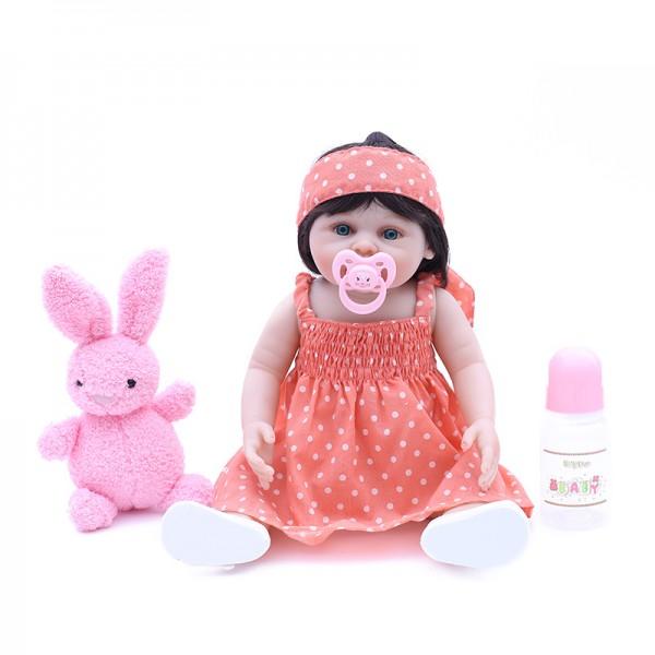 Newborn Reborn Girl Doll Lifelike Realistic Silicone Vinyl Baby Girl Doll 18inch