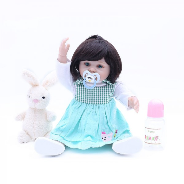 Poseable Reborn Girl Doll Lifelike Realistic Silicone Baby Doll 18inch With Toy