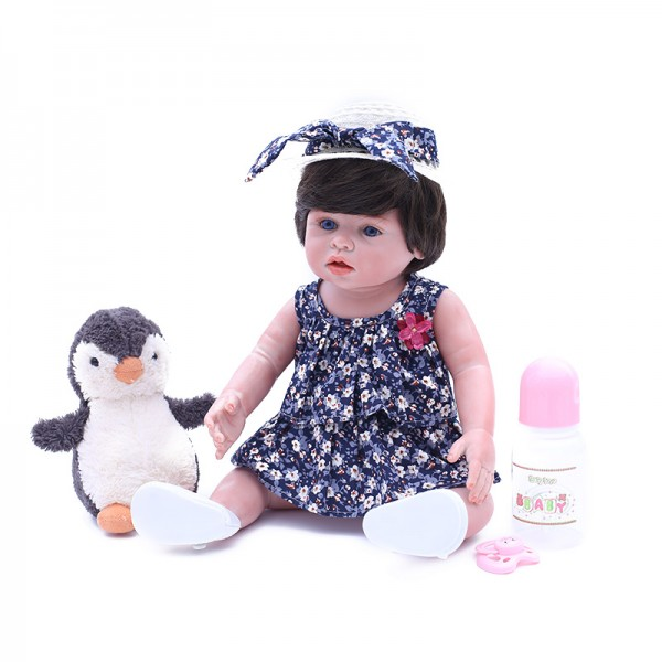 Reborn Baby Girl Doll In Floral Dress Lifelike Realistic Silicone Doll 18inch With Toy