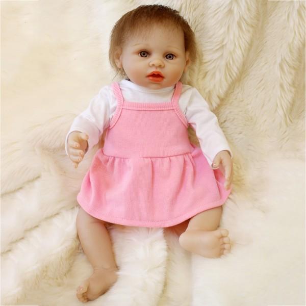 Realistic Reborn Girl Doll Lifelike Silicone Vinyl Pretty Baby Girl Doll 16inch