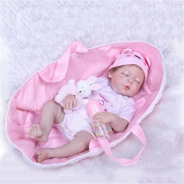 Lifelike Sleeping Reborn Girl Doll Poseable Silicone Newborn Baby Doll 22inch