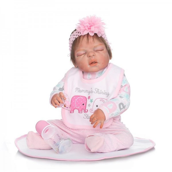 Silicone Sleeping Reborn Girl Doll Lifelike Poseable Newborn Baby Doll 22.5inch