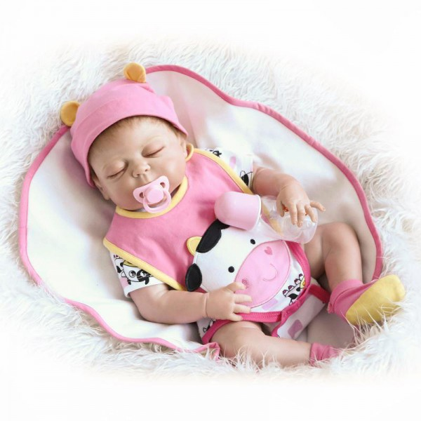 Sleeping Reborn Girl Doll Lifelike Poseable Silicone Newborn Baby Doll 19inch