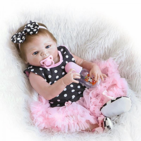 Lifelike Reborn Baby Girl Doll In Bubble Skirt Realistic Silicone Poseable Girl Doll 22.5inch
