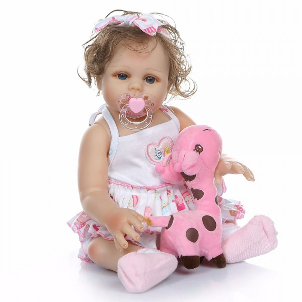 Lifelike Reborn Girl Baby Doll Realistic Silicone Curly Hair Girl Doll 19inch