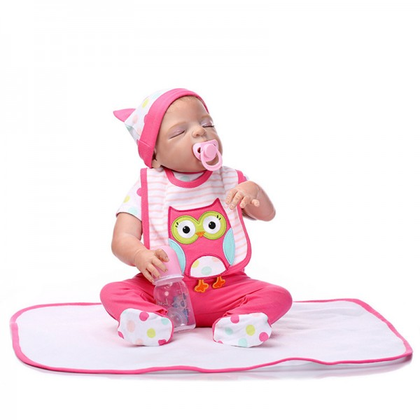 Poseable Sleeping Reborn Girl Doll Lifelike Silicone Newborn Baby Doll 22inch