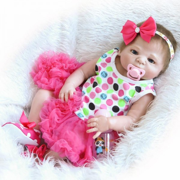 Lifelike Reborn Girl Doll In Bubble Skirt Realistic Silicone Newborn Baby Doll 22.5inch