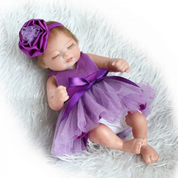 Pretty Sleeping Reborn Girl Doll In Bubble Dress Lifelike Silicone Baby Doll 22.5inch