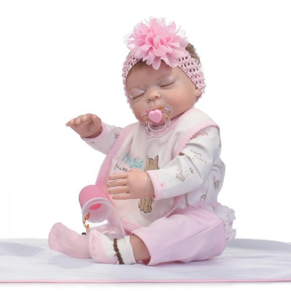 Sleeping Reborn Girl Doll Lifelike Poseable Silicone Vinyl Newborn Baby Doll 20inch