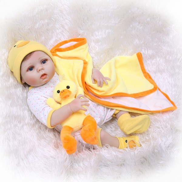 Yellow Duck Reborn Girl Doll Lifelike Poseable Silicone Baby Girl Doll 22inch