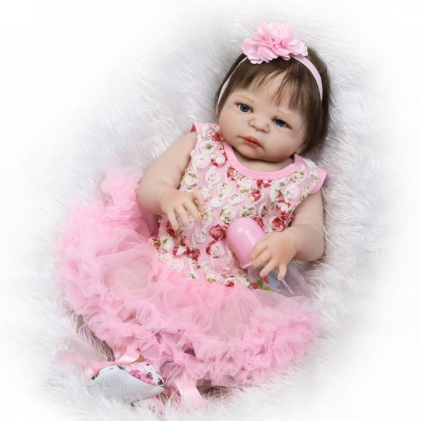 Silicone Reborn Baby Girl Doll In Pink Bubble Skirt Lifelike Realistic Newborn Doll 22.5inch