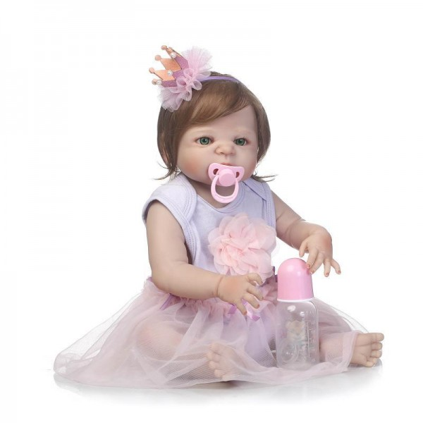 Pretty Silicone Reborn Baby Girl Doll In Purple Dress Lifelike Realistic Girl Doll 22inch