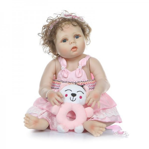 Reborn Girl Doll In Pink Dress Lifelike Poseable Silicone Curly Hair Baby Doll 22inch