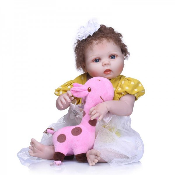 Pretty Baby Girl Doll Lifelike Realistic Curly Hair Silicone Reborn Doll 22inch