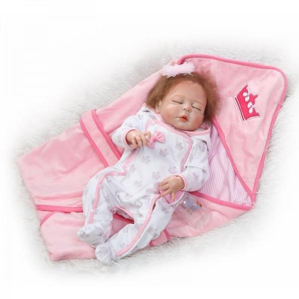 Sweet Dreams Sleeping Reborn Girl Doll Lifelike Silicone Baby Doll 22.5inch