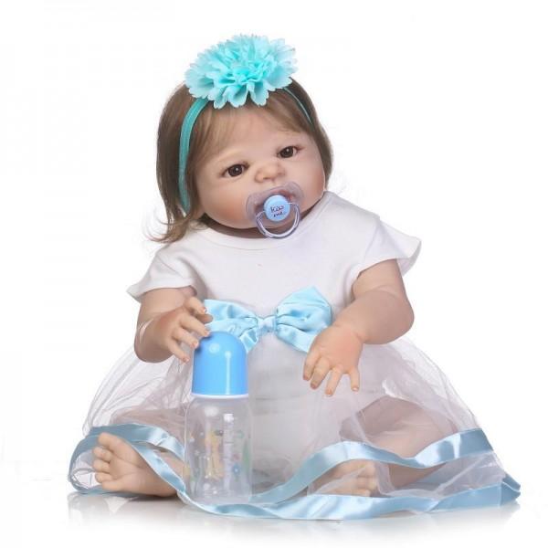 Pretty Reborn Baby Girl Doll Lifelike Realistic Silicone Vinyl Girl Doll 22.5inch