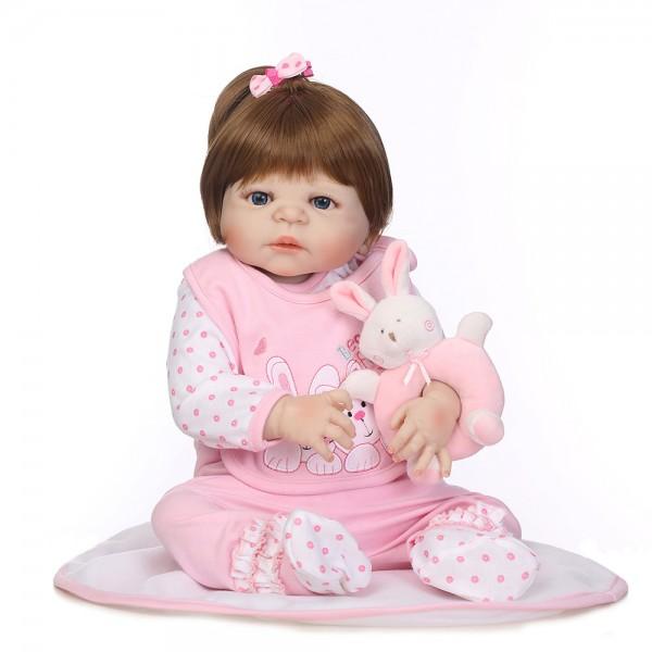 Reborn Girl Doll Lifelike Realistic Silicone Vinyl Pretty Baby Girl Doll 22.5inch