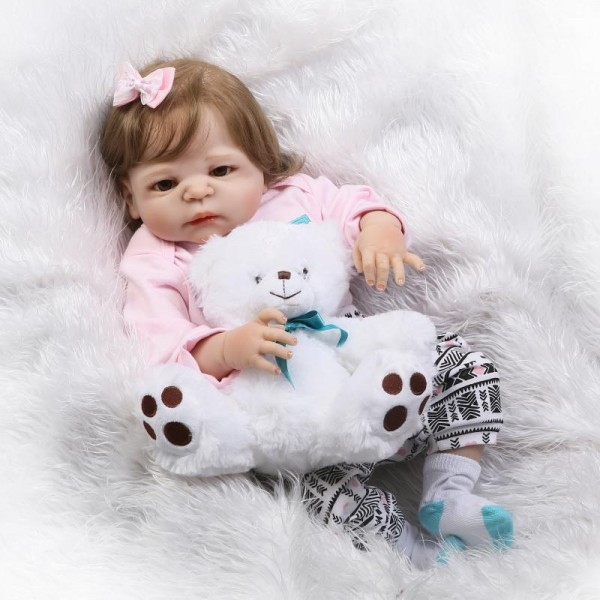 Reborn Girl Doll Lifelike Realistic Silicone Vinyl Baby Girl Doll 22inch With Toy