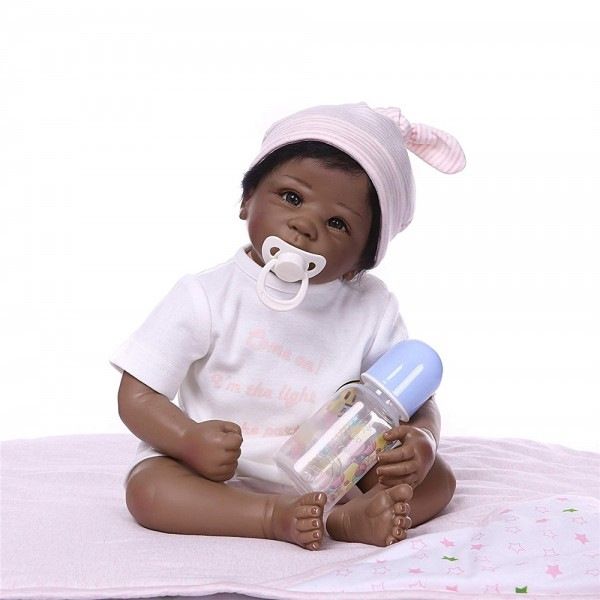 Full Silicone Body Realistic Cute Black Baby Doll 22 inches