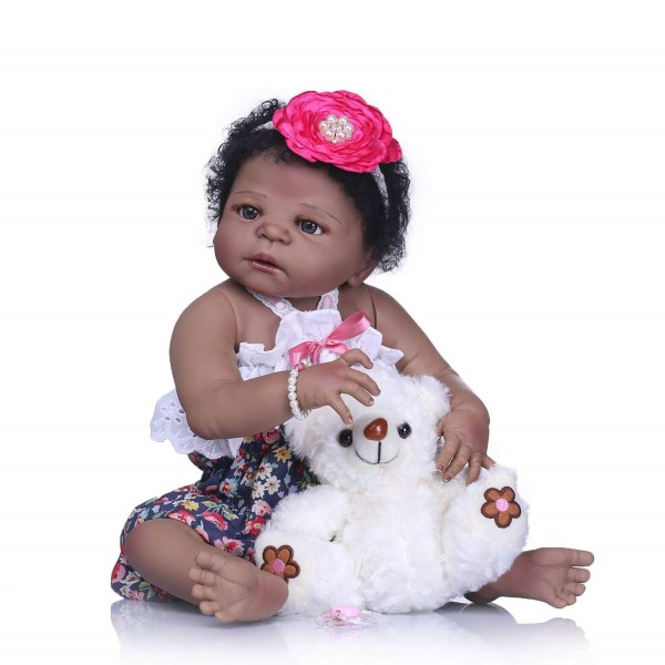 Cute African American Reborn Baby Doll Full Body Silicone Baby Doll 22.5 inches
