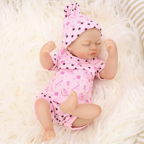 Smile Sleeping Girl Doll Lifelike Silicone Reborn Preemie Baby Doll 10inch