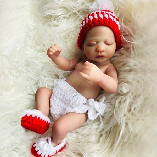 Sleeping Reborn Girl Doll Lifelike Silicone Vinyl Preemie Baby Doll 10inch