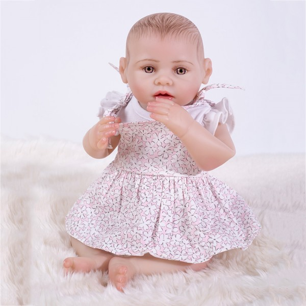 Lifelike Reborn Girl Doll Realistic Silicone Painted Hair Baby Girl Doll 17inch