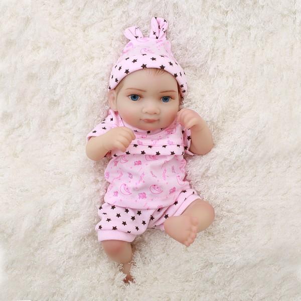 Mini Cute Reborn Girl Doll Preemie Lifelike Poseable Silicone Baby Girl Doll 10inch