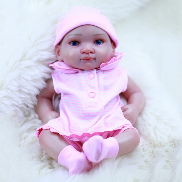 Lifelike Mini Reborn Girl Doll Preemie Poseable Silicone Baby Girl Doll 10inch