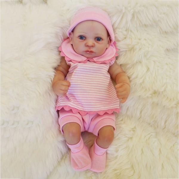 Mini Reborn Girl Doll Lifelike Poseable Silicone Preemie Baby Doll 10inch