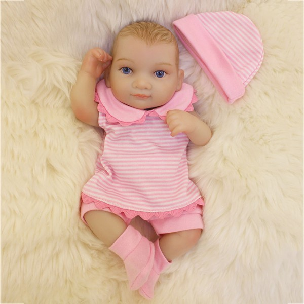 Mini Silicone Reborn Girl Doll Lifelike Painted Hair Preemie Baby Doll 10inch