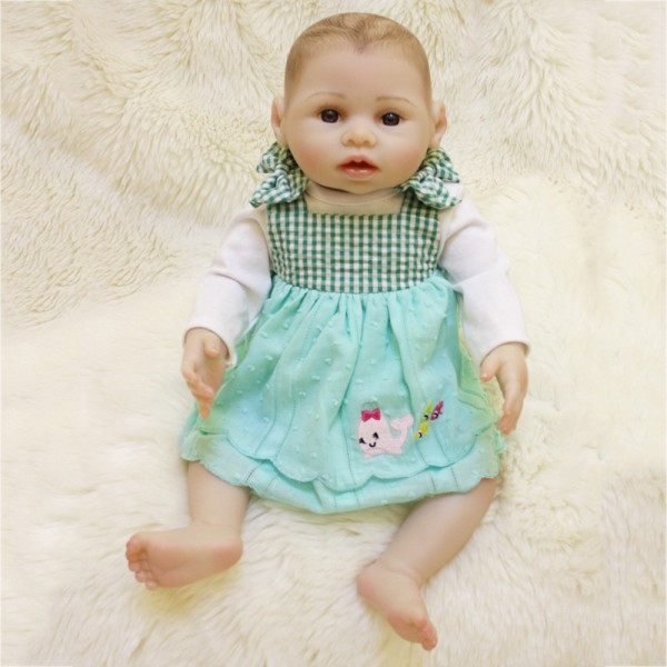 Lifelike Reborn Girl Doll Realistic Poseable Silicone Painted Hair Baby Doll 16inch