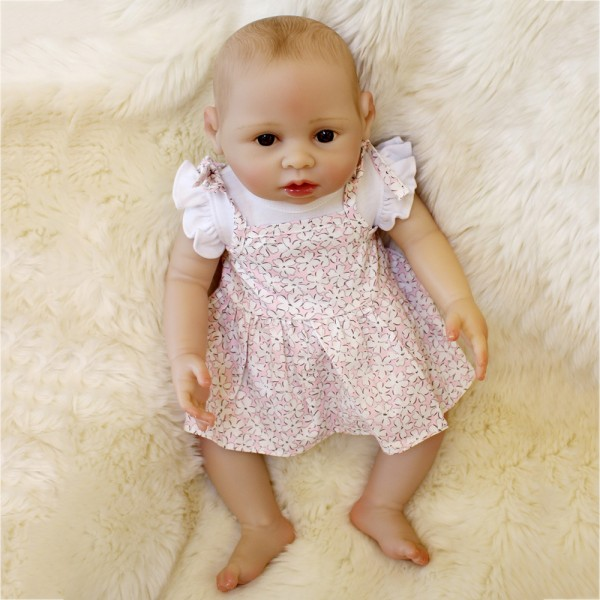 Lifelike Reborn Baby Girl Doll Painted Hair Realistic Silicone Doll 16inch