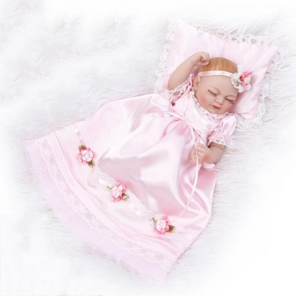 Little Princess Sleeping Reborn Baby Girl Doll Lifelike Silicone Preemie Doll 10inch