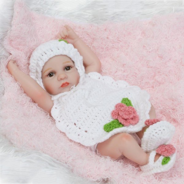 Pretty Reborn Girl Doll Lifelike Painted Hair Poseable Silicone Preemie Baby Doll 10inch