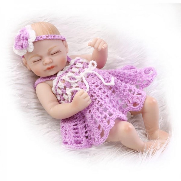 Pretty Sleeping Reborn Baby Girl Doll Lifelike Poseable Silicone Preemie Doll 10inch